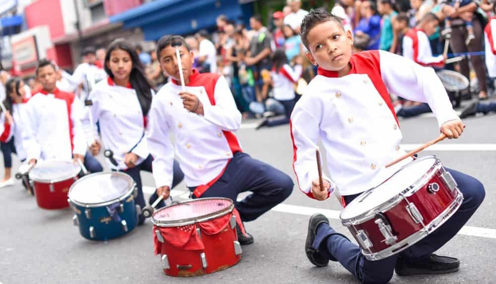 Boys drumming in parade for Costa Rica Independence